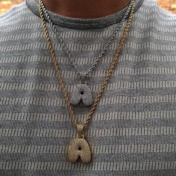 Custom accessories bubble letter pendants diamond chain poshmark custom bubble letter pendants diamond chain mozeypictures Images